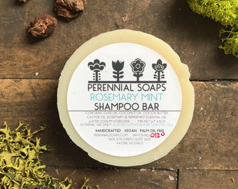 Rosemary Mint Shampoo Bar - Vegan Artisan Soap with Cocoa Butter & Castor Oil