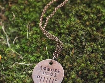 Jeep Necklace   Jeepsy Soul Hand Stamped Outdoorsy Gift Copper Jeep Girl