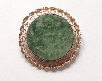 Catamore filigree gold filled pin with jade / jadite stone.
