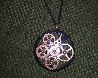 Steampunk clock gear pendant necklace