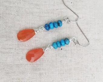 Carnelian Drops with Arizona Turquoise Earrings