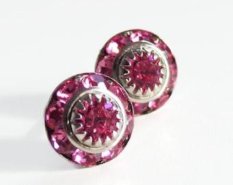 Dark Pink Crystal Earrings - made with Vintage Swarovski® Crystal  Post - Stud Earrings