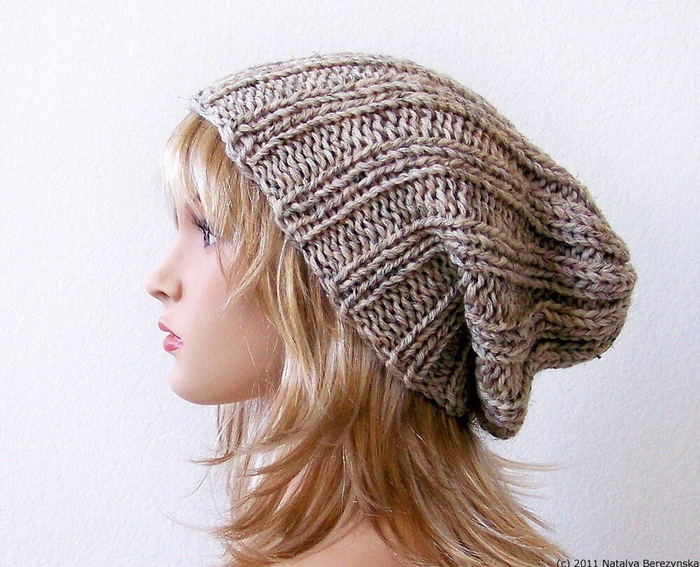Slouchy Beanie Pattern Knitting PATTERN Knit Hat Pattern