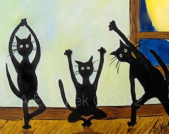 Cat Art - Yoga Art - Yoga Cats in Green - Cats doing yoga -  5x7  Print - Yoga Gift Idea - Gift for Cat Lover