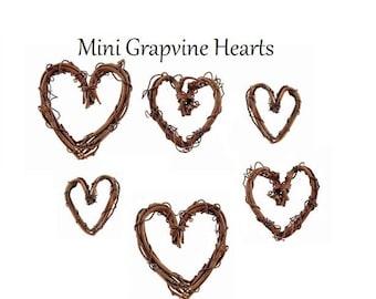 12 Miniature Grapevine Hearts