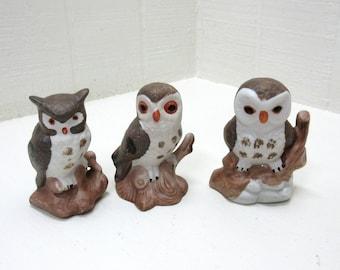 Vintage Ceramic Owl Family Figurines