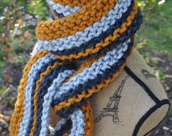 Chunky Knit Striped Scarf - Mens Long Scarf - Womens Striped Scarf - Ladies Winter Scarf - Butterscotch Gold - Charcoal Grey - Marble Gray