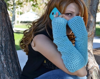 Ice blue arm warmers, fingerless gloves, texting gloves, crochet gloves, boho gloves, hand warmers, mittens, boho fashion, button gloves