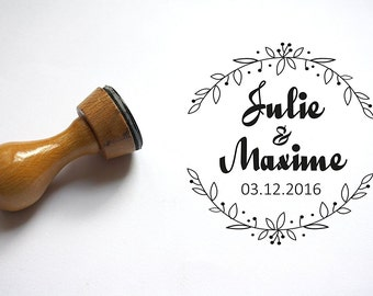 Custom stamp, personalized wedding stamp, names date, crown flower pattern, to customize your letters, thank You Cards, engraved on demand