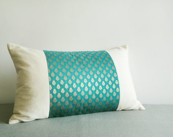 Teal Brocade Patchwork Lumbar Pillow , Brocade Cushion , Housewares , Decor Pillow