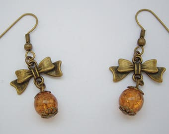 Bows and pearls Craquelees ochre earrings