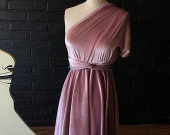 VELVET Short Circle skirt Octopus Infinity Wrap Dress~ Custom choose color. Bridesmaids, Wedding, Bohemian