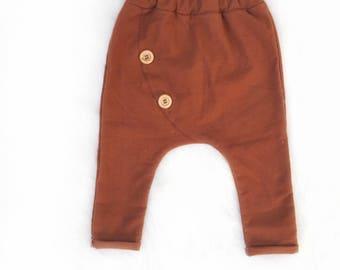 Flannel|Button harem pants in burnt orange|Button details|boy pants|boho baby leggings