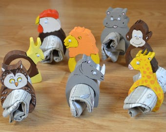 Set of napkin rings in the shape of animals