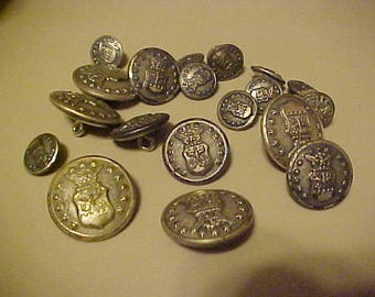 Qty of 19 Waterbury military buttons different sizes