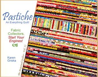 Pastiche Quilt Pattern, Scrap Quilt, String Quilt, Unique Quilt, Quilt Tutorial, Instant Download