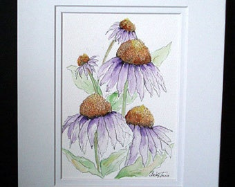 Purple Cone Flowers - Original Watercolor and Pen and Ink Painting, Flower, Flower Art, Cone Flower Art, Wall Art. Home Decor, Gift