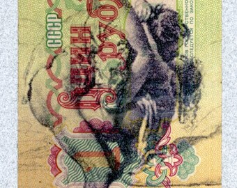 "Original mixed media art 'Dirty Money Ballet' approx 2.25"" X 4.25"""