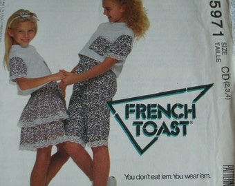 Girls Top, Skirt and Shorts Girls Size 2-3-4 McCalls French Toast by Lolltogs Pattern 5971 UNCUT Pattern 1992