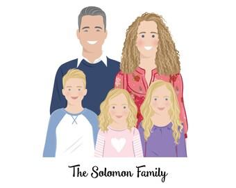Custom portrait. Custom family portrait. Family portrait illustration. Personalized Birthday gift. Digital file only - Draw me, please.