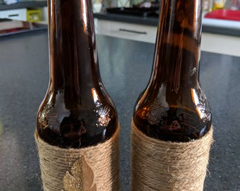 Twine Wrapped, Rustic, Brown Bottle with Feather