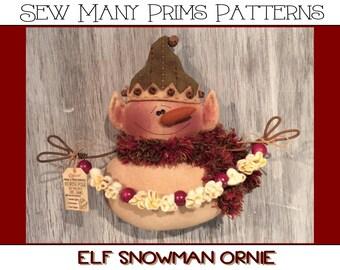 Primitive Elf Snowman PATTERN Popcorn Garland, Ornament- Ornie - Sew Many Prims - instant download