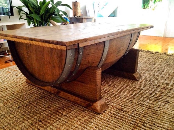 Wine barrel coffee table with recycled timber top that opens