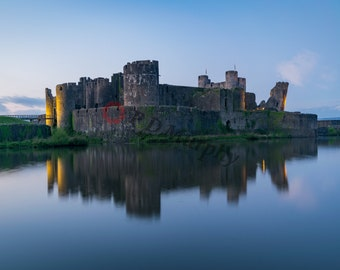 Dusk at Caerphilly Castle