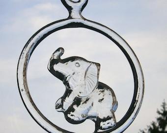 Vintage Kosta Boda Elephant Suncatcher designer Bertil Vallien