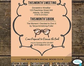 Literary Book Club Invitation - 5x7 - DIY - Print At Home - Book Club Invitation