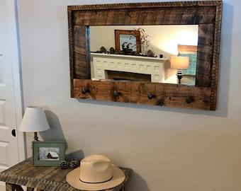 Large Entryway Barnwood Mirror/Coat Rack