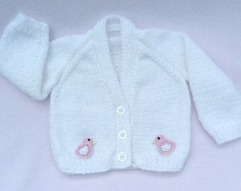 Knit baby cardigan. Hand knitted baby clothes. White baby sweater to fit  0 to 3 months. Baby girl clothes, baby girl gift, baby shower gift