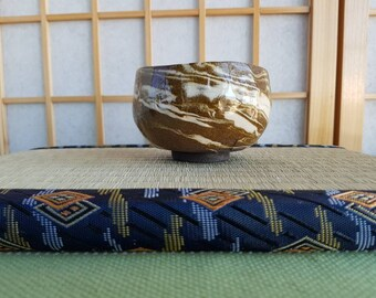 Brown snd white nerikomi chawan,  teabowl for the Japanese tea ceremony made with marbled clay
