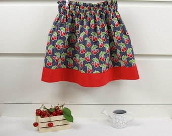 Girls' Blue Skirt with Cherry • Elastic waist Skirt • Girl Summer Skirt • Cotton Skirt • Toddler Skirt • Birthday Party Skirt
