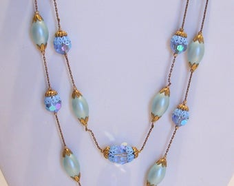 Two Strand Blue Pearl and Aurora Borealis Bead Necklace by Rifas