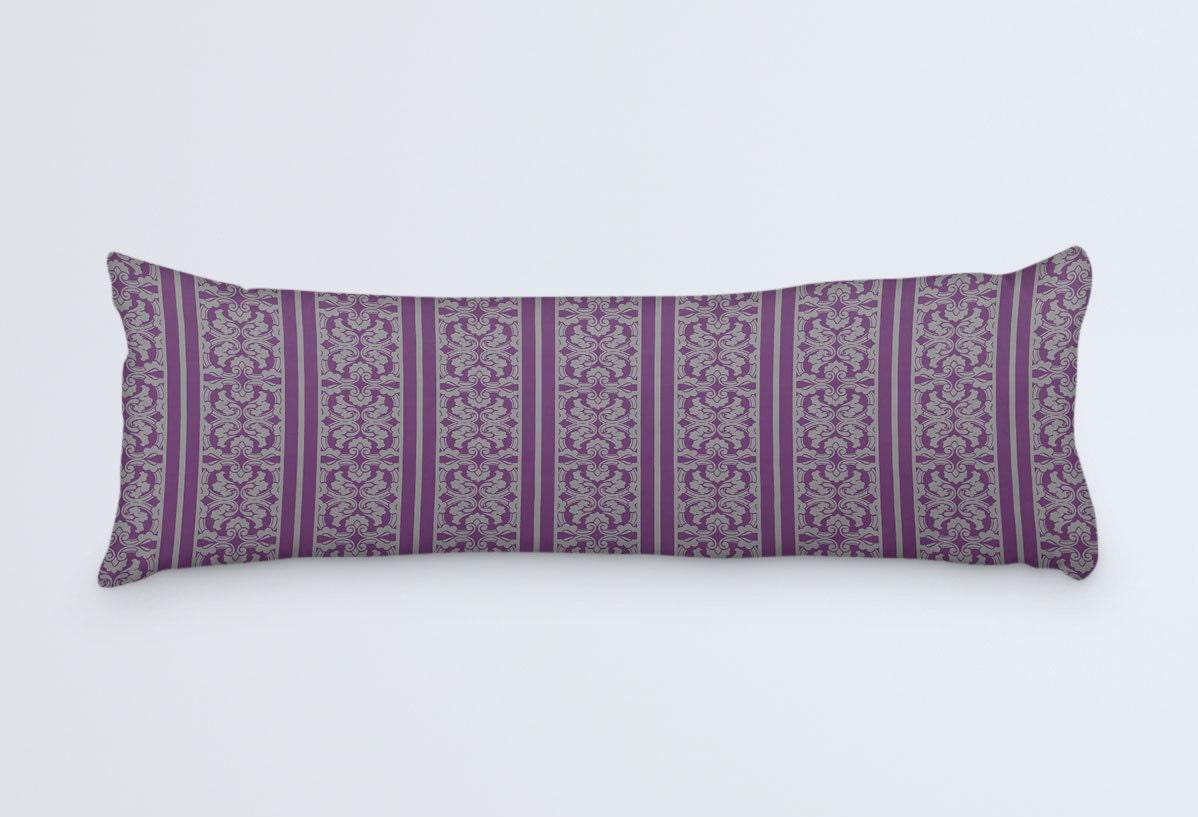 Purple and Grey Body Pillow Stripes Long Pillow Body Pillow