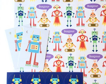 Robot Gift Wrap Set