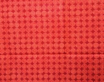 "Very pretty cotton ""Ghana Disc"" red and ocher"
