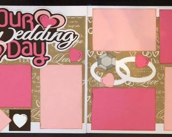 12X12 Premade 2 Page Layout Our Wedding Day Scrapbook, Scrapbook pages, Scrapbooking