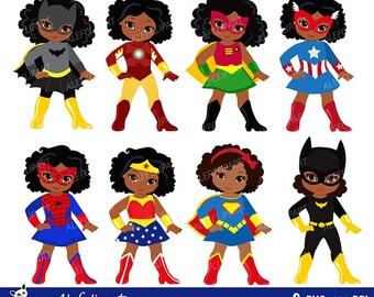 Girls African American in superhero costume. Instant Download.