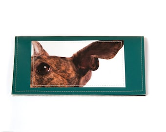 Brindle greyhound photo checkbook cover - faux leather in green