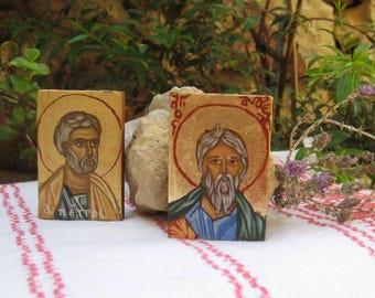 Saints Andrew and St Peter Μini Apostles  hand painted original miniature byzantine icons- christian miniature, altar shrine home decoration