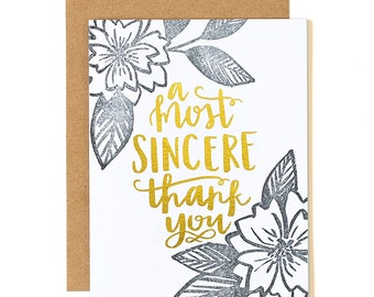 A Most Sincere Thank You Letterpress Card // 1canoe2