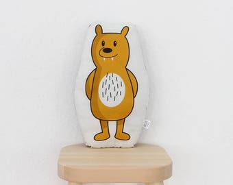 Stuffed animal – bear Manfred – plush pillow figur yellow grizzly