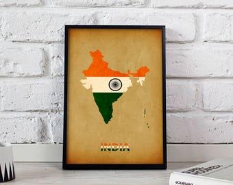 India poster India art India Map poster India print wall art India wall decor Gift poster