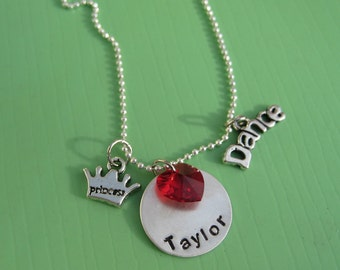 The Valentine, Personalized hand stamped necklace with heart shaped Swarovski crystal bead and charms of your choice