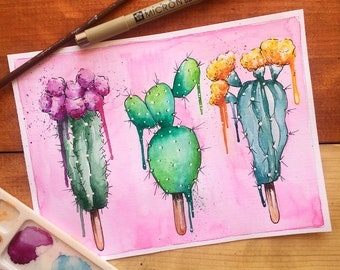 Pink Watercolor Cactus Popsicles!