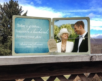 Custom Today A Groom Tomorrow A Husband Forever Your Son Picture Frame, Mother Of The Groom Frame, Wedding Picture Frame, Personalized Frame