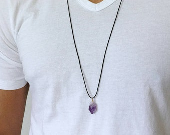 Amethyst Crystal Necklace for Men Amethyst Jewelry Energy Crown Chakra Necklace Yogi Gift Yoga Necklace Mens Crystal Necklace Gift for him
