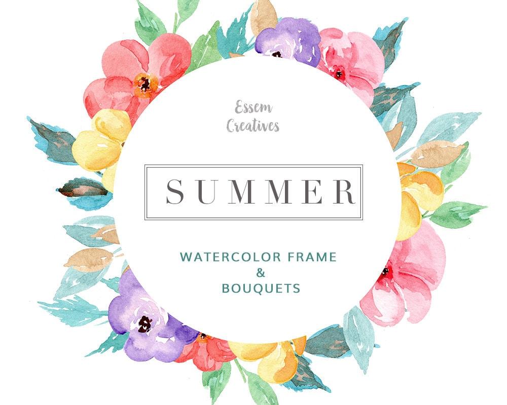 Tropical Watercolor Wreath Clipart, Floral Wreath Clipart ...